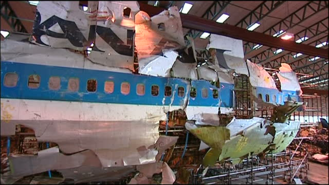 interior shots of the pieced together wreckage of pan am 103 in a hangar on august 13 2009 in farnborough hampshire - lockerbie stock videos & royalty-free footage