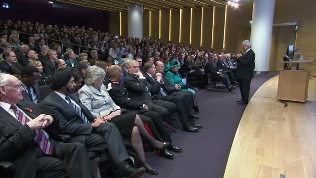 interior shots of the queen and duke of edinburgh listening to a lecture on influenza whilst visiting the francis crick institute on november 09 2016... - francis crick stock videos & royalty-free footage