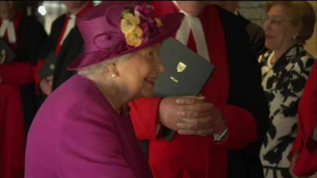 interior shots of the queen and prince charles meeting members of the clergy at westminster abbey to formally launch the queen's diamond jubilee... - clergy stock videos & royalty-free footage