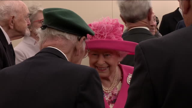 interior shots of the queen and prince charles meeting veterans of the normandy landings during commemorations of the 75th anniversary of dday on 5... - state visit stock videos & royalty-free footage