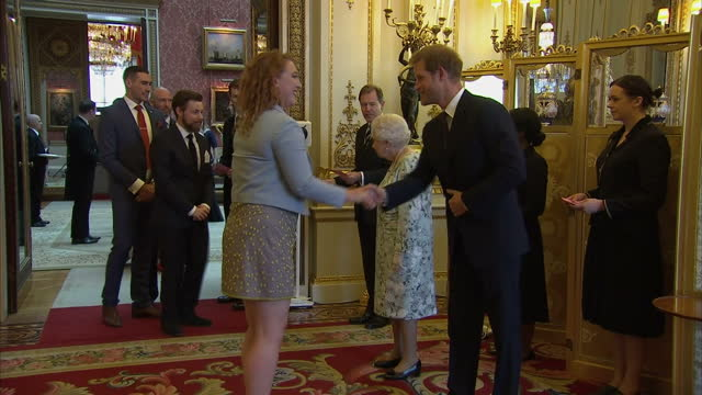 interior shots of the queen and prince harry greeting guests at a reception at buckingham palace for the 2017 queen's young leaders awards on june... - 式典点の映像素材/bロール