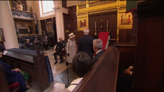 interior shots of the queen and prince philip kistening to a speech by sir michael graydon chairman of the charterhouse board of governors before... - memorial plaque stock videos and b-roll footage