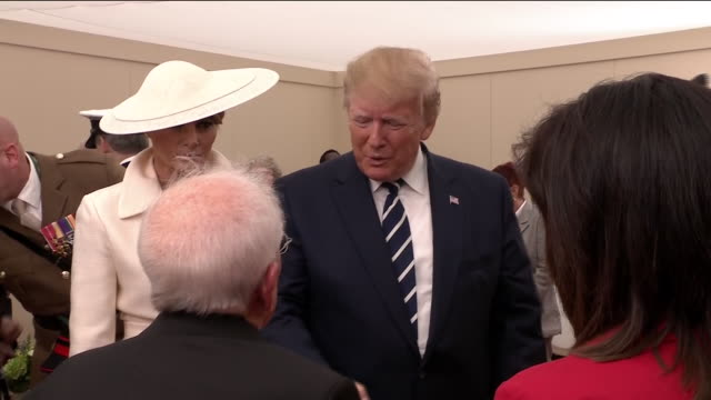 interior shots of the queen donald trump and wife melania and prince charles meeting veterans of the normandy landings during commemorations of the... - state visit stock videos & royalty-free footage