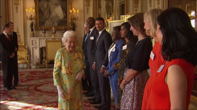 interior shots of the queen greeting and talking to a line of celebrity guests at the young leaders awards at buckingham palace including john major,... - lenny henry stock videos & royalty-free footage