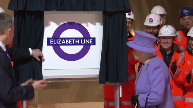 Interior shots of The Queen unveiling a plaque reading 'Elizabeth Line' in new Crossrail station at Bond Street on February 23 2016 in London England
