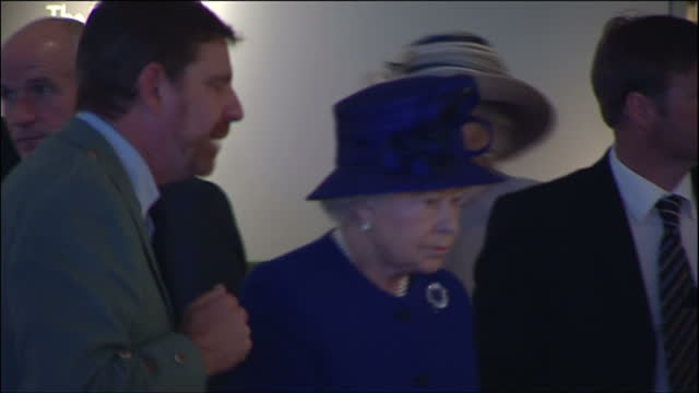 interior shots of the queen visiting culloden battlefield visitor centre on june 29, 2009 in inverness, scotland. - inverness scotland stock videos & royalty-free footage