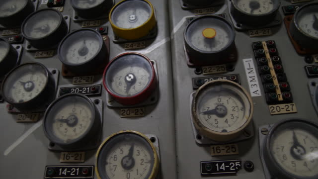 interior shots of the reactor control panel and instruments in chernobyl reactor three's control room on 12 june 2019 in chernobyl, ukraine - nuclear reactor stock videos & royalty-free footage