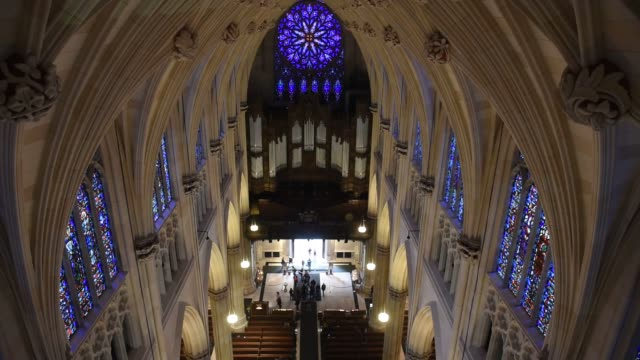 interior shots of the restoration project at st patricks cathedral in midtown manhattan new york us on april 7th 2015 shots shots pan down from the... - st. patrick's cathedral manhattan stock videos and b-roll footage