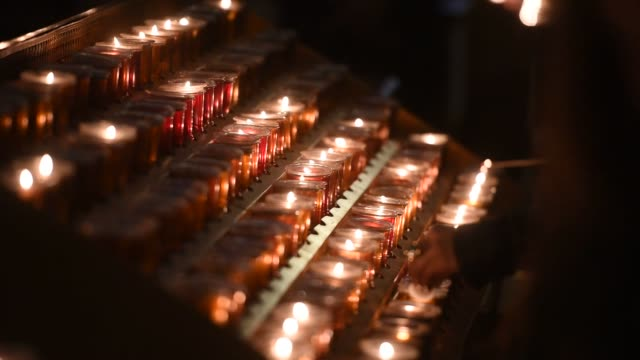 interior shots of the restoration project at st patricks cathedral in midtown manhattan new york us on april 7th 2015 shots close up shots of candles... - st. patrick's cathedral manhattan stock videos and b-roll footage