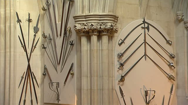interior shots of the royal collection in windsor castle, in particular the tribute to the bravery of irish soldiers who fought in the first world... - palace stock videos & royalty-free footage