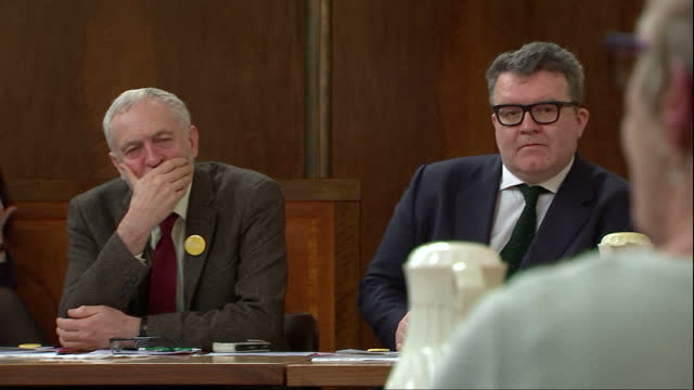 interior shots of the shadow cabinet ministers sitting in meeting including jeremy corbyn tom watson vernon coaker diane abbott owen smith on march... - diane abbott stock videos & royalty-free footage