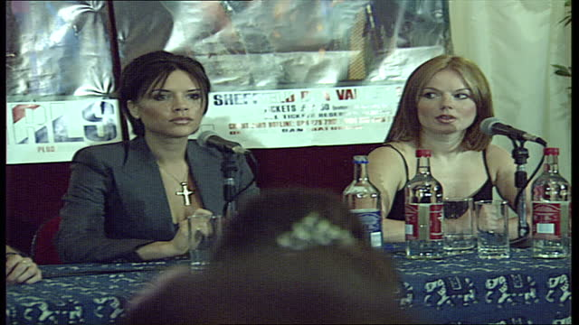 interior shots of the spice girls pop band members walk out for a press conference, including mel b scary spice, emma bunton baby spice, geri... - geri horner stock videos & royalty-free footage