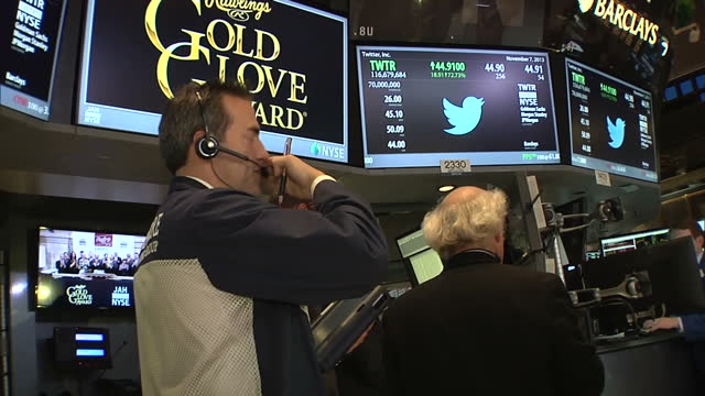 interior shots of the trading floor of the new york stock exchange with the closing bell ringing and screen showing the twitter logo and share price... - logo stock videos & royalty-free footage