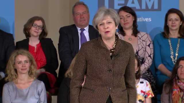 interior shots of theresa may addressing supporters at a campaign event in harrow on may 08, 2017 in harrow, england. - harrow stock videos & royalty-free footage
