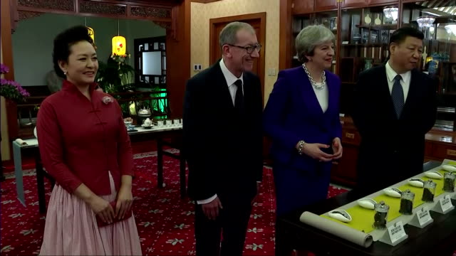 interior shots of theresa may and her husband philip being shown various kinds of tea leaves with president xi jinping and his wife peng liyan at the... - theresa may stock-videos und b-roll-filmmaterial