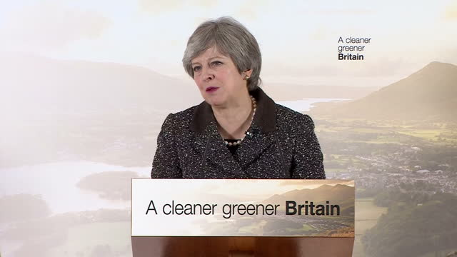 Interior shots of Theresa May making a speech at the London Wetlands Centre announcing the Government's new Environmental Plan to cut down avoidable...
