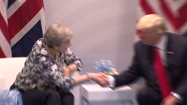 Interior shots of Theresa May meeting with President Donald Trump on the fringes of the G20 Summit and Donald Trump speaking about the matters they...
