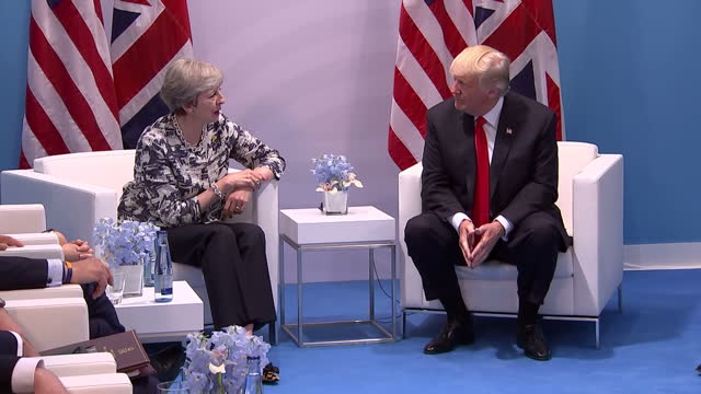 Interior shots of Theresa May meeting with President Donald Trump on the fringes of the G20 Summit and speaking to the media about the matters they...