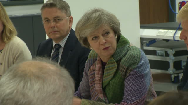 interior shots of theresa may, prime minister talking to her cabinet in a meeting to discuss industry strategy post-brexit, with jeremy heywood,... - jeremy heywood stock videos & royalty-free footage