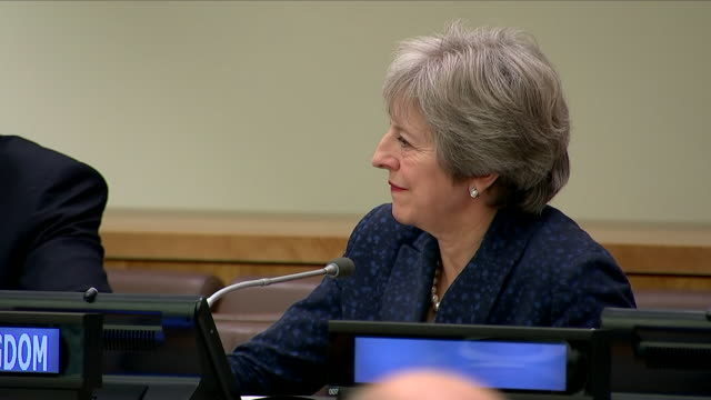 interior shots of theresa may sat next to emmanuel macron justin trudeau at the un general assembly on 26 september 2018 in new york united kingdom - 国際連合点の映像素材/bロール