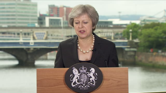 Interior shots of Theresa May UK Prime Minister delivering speech during her Northern Ireland visit on 20 July 2018 in Belfast Northern Ireland