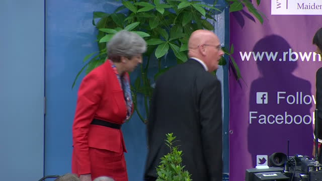 Interior shots of Theresa May waiting with other candidates before the Maidenhead general election declaration on 9 June 2017 in Maidenhead United...
