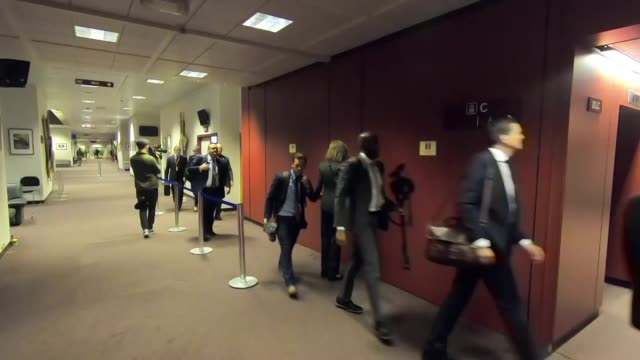 interior shots of theresa may walking from the european council press briefing room after asking for a brexit extension on 21 march 2019 in brussels,... - brussels capital region stock videos & royalty-free footage