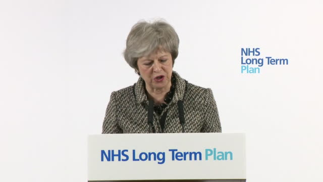 Interior shots of Theresa May's NHS long term plan speaking about everyone in the country having access to the same expert and quick treatment on 7...