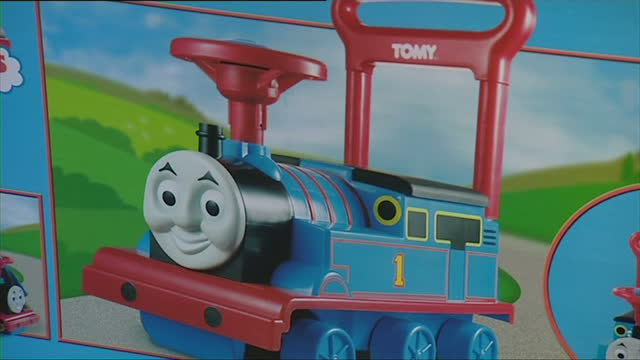 interior shots of thomas the tank engine toys for sale on the shelves of a toyshop on october 31 2007 in london england - television show stock videos & royalty-free footage