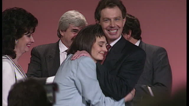 interior shots of tony blair and his wife cherie blair celebrate in front of a cheering crowd and john prescott with his wife pauline prescott stood... - tony blair stock-videos und b-roll-filmmaterial