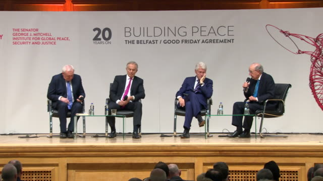 interior shots of tony blair speaking during a conference for the 20th anniversary of the building peace the belfast / good friday agreement... - tony blair stock-videos und b-roll-filmmaterial