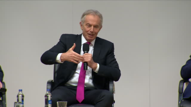 interior shots of tony blair speaking on the stage during the 20th anniversary for the belfast / good friday agreement conference on 11th april 2018... - tony blair stock-videos und b-roll-filmmaterial