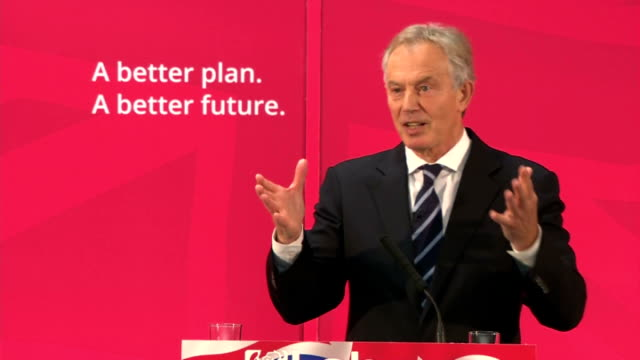 Interior shots of Tony Blair speech to British Labour Party supporters backing Ed Miliband 'I Support him 100 percent' on April 07 2015 in Sedgefield...