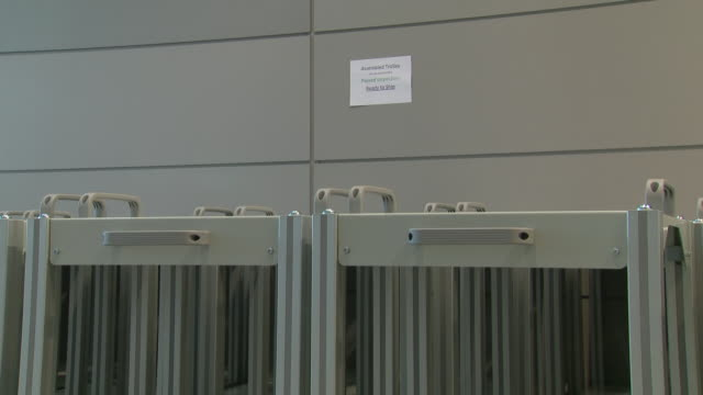 interior shots of trollies to be used to house new ventilators for the nhs in the fight against coronavirus in mclaren's headquarters, with several... - respiratory machine stock videos & royalty-free footage