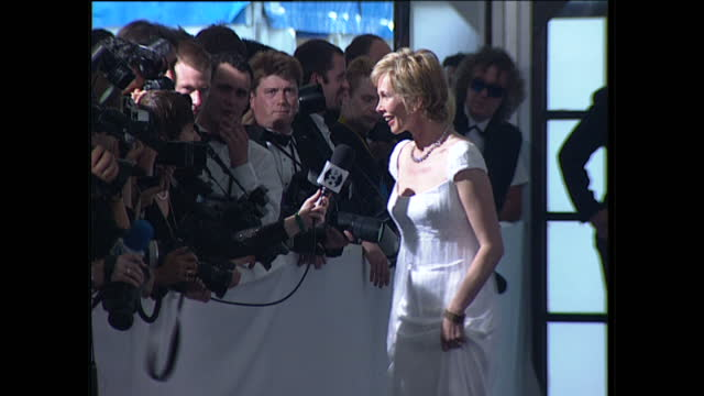 interior shots of trudie styler chatting to reporters on the red carpet on arrival for the 'de beers / versace diamonds are forever fashion show'... - trudie styler stock videos & royalty-free footage