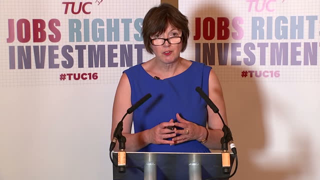 Interior shots of TUC General Secretary Frances O'Grady speaking at a press conference on the postBrexit economic position for the UK on September 11...