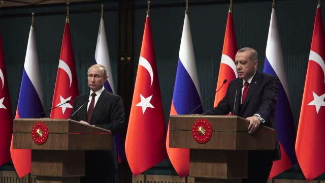 Interior shots of Turkish President Recep Tayyip Erdogan speaking at a press conference of his support for Russian President Vladimir Putin with...