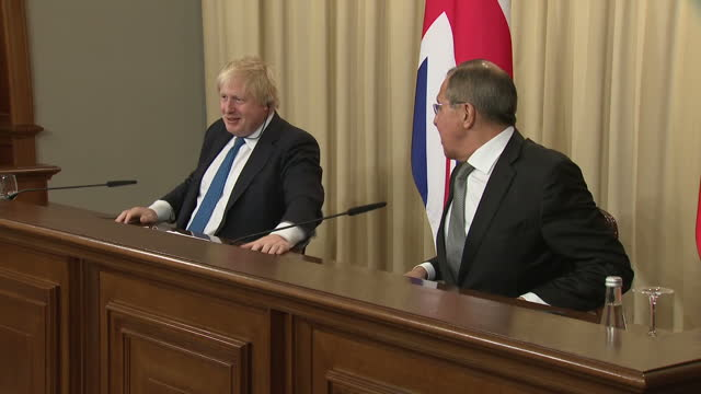 Interior shots of UK Foreign Secretary Boris Johnson speaking during a joint press conference with Russian Foreign Minister Sergei Lavrov before...