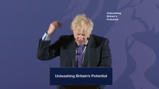 interior shots of uk prime minister boris johnson avoiding the word brexit during speech at the old royal naval college in greenwich on 3rd february... - royal navy college greenwich stock videos & royalty-free footage