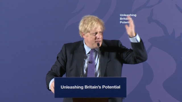 interior shots of uk prime minister boris johnson end of speech at the old royal naval college in greenwich on 3rd february 2020 in london england - royal navy college greenwich stock videos & royalty-free footage