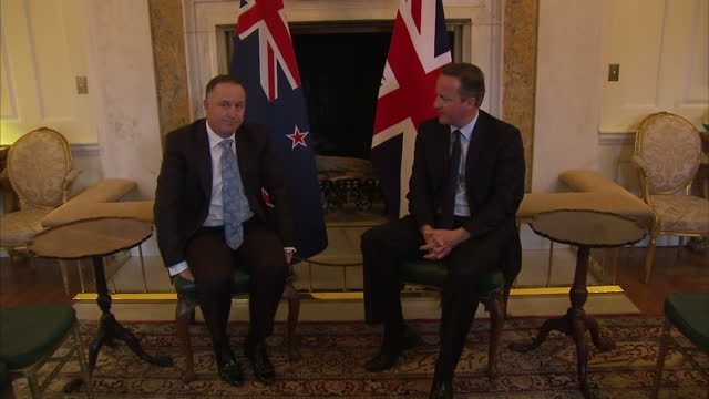 interior shots of uk prime minister david cameron and new zealand prime minister john key sitting down together and speaking about some of the topics... - david cameron politician stock videos & royalty-free footage