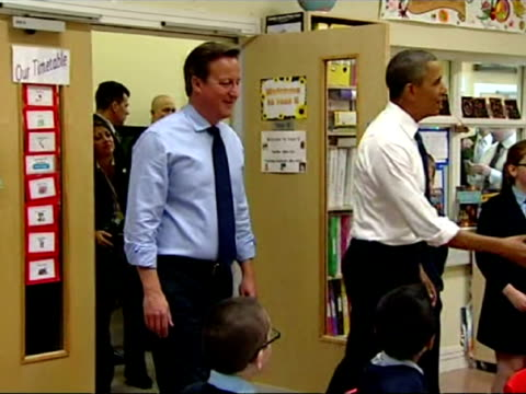 Interior shots of UK Prime Minister David Cameron President of the USA Barack Obama speaking to Enniskillen Integrated Primary School children in...