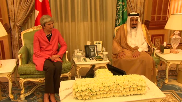 Interior shots of UK Prime Minister Theresa May being presented with medal and award by King Salman of Saudi Arabia on April 05 2017 in Riyadh Saudi...