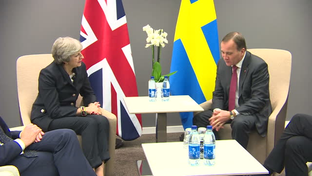 Interior shots of UK Prime Minister Theresa May in a bilateral meeting with Swedish Prime Minister Stefan Lofven ahead of the EU social summit on...