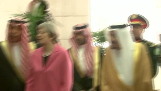 Interior shots of UK Prime Minister Theresa May shaking hands with various officials during her meeting with King Salman of Saudi Arabia on April 05...