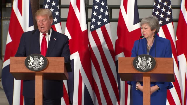 interior shots of us president donald trump and prime minister theresa may attend a joint press conference at the foreign and commonwealth office... - state visit stock videos & royalty-free footage