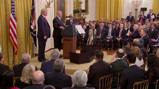 interior shots of us president trump and israeli prime minister netanyahu end oft press conference on 28th january 2020 in washington, united states - benjamin netanyahu stock videos & royalty-free footage
