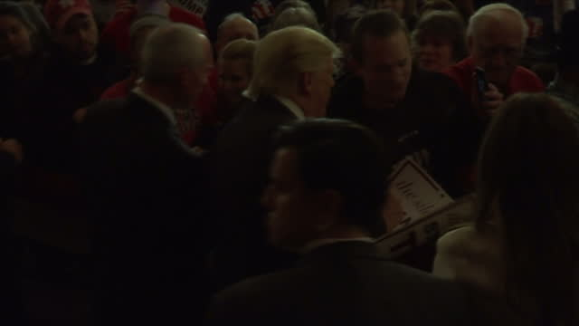 Interior shots of US Presidential Hopeful Donald Trump and wife Melania Trump meeting supporters at a campaign rally in Iowa NB AUDIO IS MUTE TO...