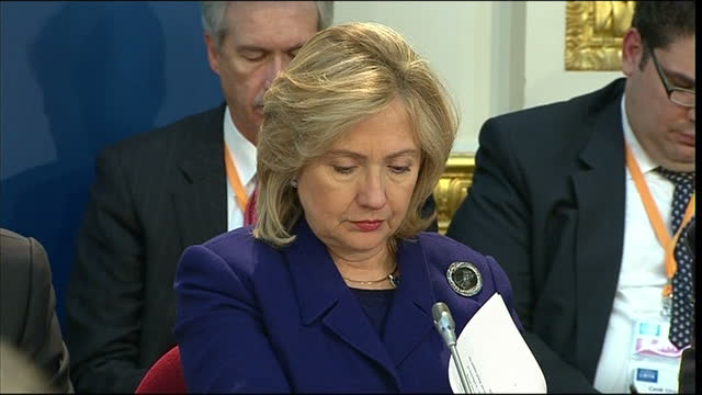 interior shots of us secretary of state and 2016 presidential candidate hillary clinton sat at the london libya conference on 29 march 2011 in london... - candidate stock videos & royalty-free footage