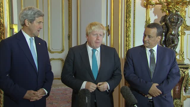 interior shots of us secretary of state john kerry uk foreign secretary boris johnson and un special envoy for yemen ismail ould cheikh ahmed... - boris johnson stock videos & royalty-free footage